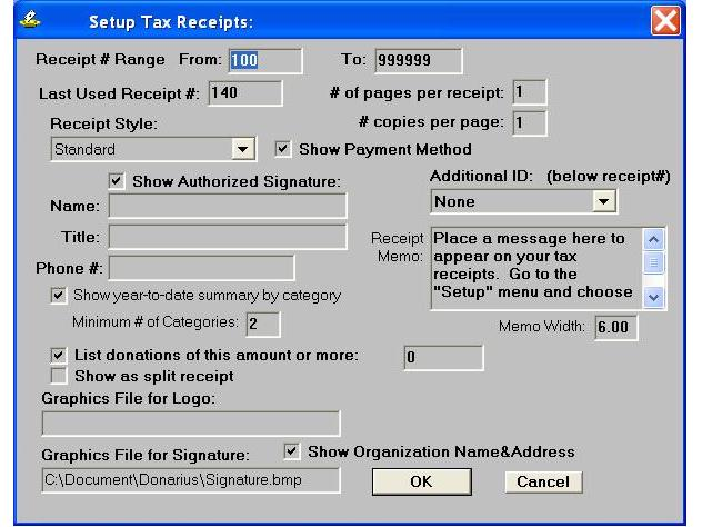 Setting up Tax Receipts
